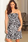 b. belle Zebra Splash Plus Size Smocked Dress Plus Size Swimsuit thumbnail