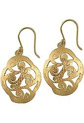 Chic-Net earrings oval buckles brushed antique brass golden spirals nickel free Tribal Brass
