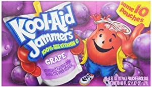 Kool-Aid Grape Jammers, 10-Count, 6-Ounce Pouches (Pack of 4)
