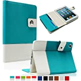 SAVEICON Blue Hybrid PU leather Folio Case Cover for Apple New iPad Mini / Mini Retina / Mini 3 Case (Released 2014) 7.9 Inch Wifi 3G 4G LTE with Built-in Stand and Card Slots Auto Wake / Sleep Smart Cover Book Shell Stand