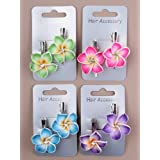 2 Pink Fimo Flower Beak Clips IN9500