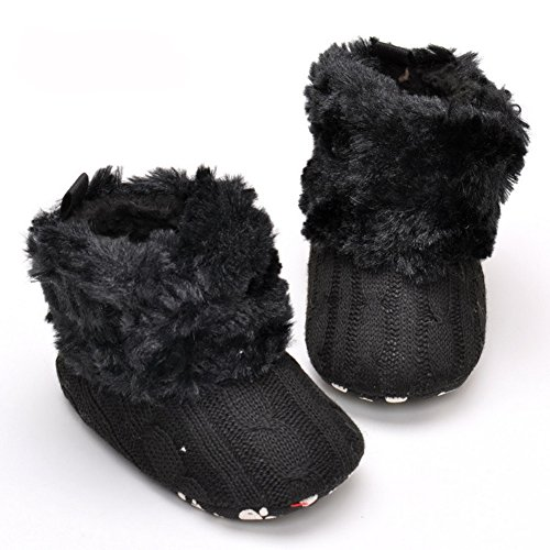 LIVEBOX Infant Baby Cotton Knit Premium Soft Sole Anti-Slip Mid Calf Warm Winter Prewalker Toddler Boots (L: 12~18 months, Black)