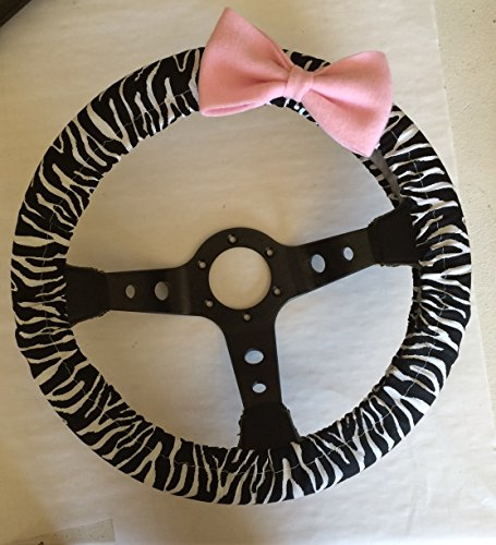Jazzie Creations black and white zebra print Stretch Steering Wheel Cover with Pink Bow Non Slip Cool in Summer (Steering Wheel Cover Pink Bow compare prices)
