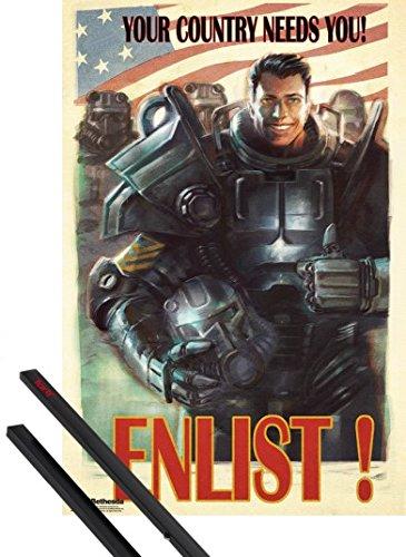 Poster + Sospensione : Fallout Poster Stampa (91x61 cm) 4, Enlist e Coppia di barre porta poster nere 1art1®