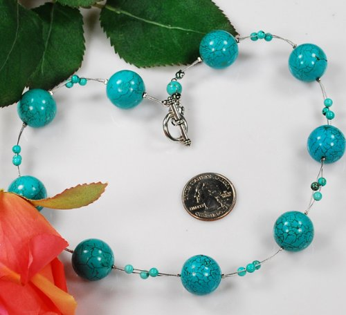 Blue Turquoise Round Beads silver Necklace N09_0802_197