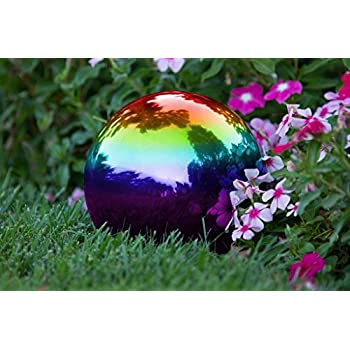 Trademark Innovations Stainless Steel Rainbow Gazing Mirror Ball, 10