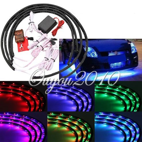 """Huhushop(Tm) 7 Color 36"""" X 2 & 24"""" X 2 Wireless Remote Control Sound Activated Under Car Led Glow Underbody System Neon Lights Kit"""