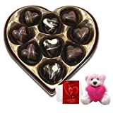 Valentine Chocholik Premium Gifts - Divine Love Selection Of Chocolates With Teddy And Love Card