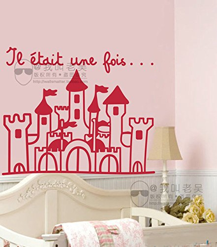 New Arrival French princesss castle removable vinyl wall decals stickers for baby girls room princess decoration fr0006