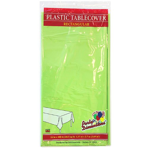 Party Dimensions Single Count Rectangular Plastic Tablecover, 54 By 108-Inch, Lime Green front-1015822