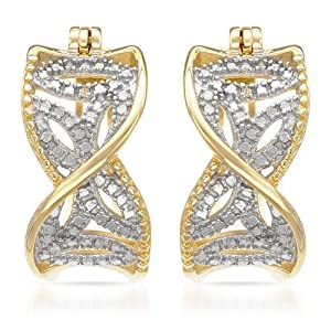 Genuine Morne Rouge (TM) Earrings. Accent Diamonds Gold Plated Silver Hoop Earrings. 5.7 Grams in Weight and 21 mm in Length. 100% Satisfaction Guaranteed.