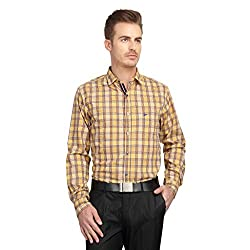 British Line Yellow color Slim Fit Checked shirt
