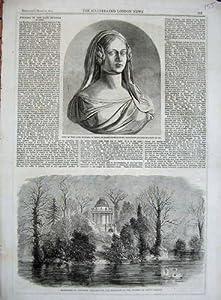 Impresión Antigua del Mausoleo Frogmore de Duquesa Kent Thornycroft de 1861 Bustos