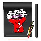Stickers-Autocollant-Tableau-NoirArdoise-par-DigHealth-Grande-Rouleau-Feuille-45200cm-Vinyl-Adhsif-Papier-avec-2-Marqueurs--Craie-pour-Enfant-Peinture-Mural-Dcoratif-cole-Menu-Frigo