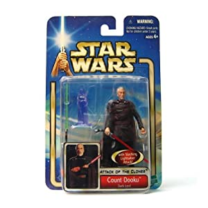 "Star Wars Year 2002 Collection 1 ""Attack of the Clones"" 4 Inch Tall Action Figure # 27 - Dark Lord Count Dooku with Red Lightsaber, Green Lightsaber, and Darth Sidious Hologram"