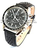 20mm Rally Perforated Leather Watch strap Black stitching for Omega Speedmaster Moon watch.