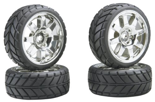 Team Associated 2407 8-Spoke Chrome Wheels and Tires NTC3 4 (Nitro Tires compare prices)