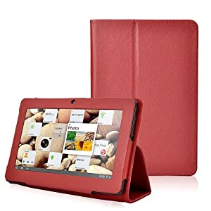 Wisedeal Universal Textured Slim Fit Folio Stand Leather Case Cover for 7 Inch Android Tablet(Q88) (Red) from Wisedeal