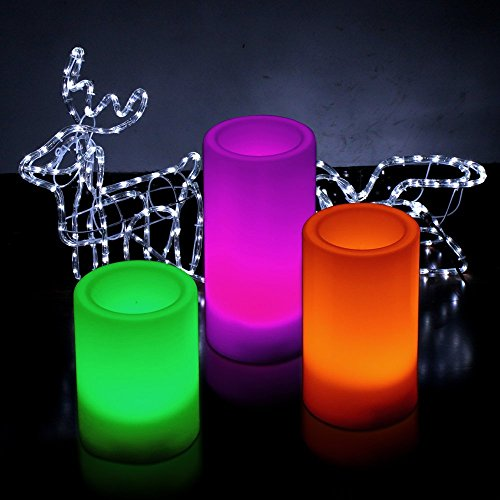 Kohree Flameless Led Candles Light With Remote Control & Timer , Pillar Candles Battery Operated, Set Of 3 (Color Changing)