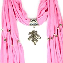 Huan Xun Womens Pink Jewelry Charm Scarf with Leaf Pendant