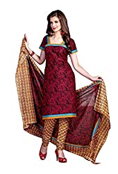 AMP IMPEX Ethnicwear Women's Dress Material Red Free Size