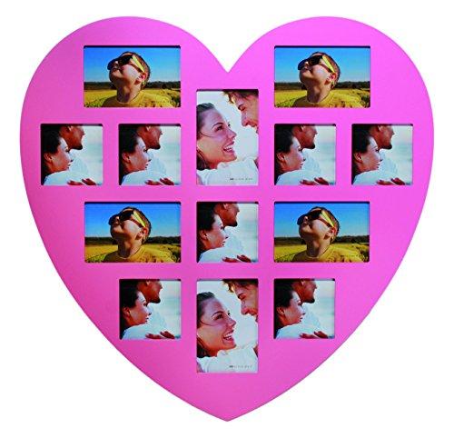 94 2495 Herz-Holz-Bilderrahmen circa 60 x 60 cm für 6 Fotos 15 x 10 cm und 7 Fotos 10 x 10 cm rosa
