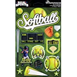 Reminisce Real Sports Softball 3D Sticker Sheet