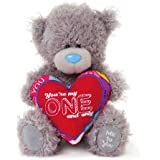 Me To You 6-inch Tatty Teddy Bear Holding a You're My One and Only Heart Shaped Cushion (Grey)