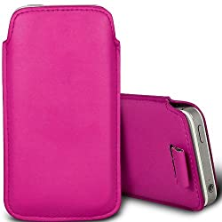 PU Leather Pull Tab Pouch Protective Case for Motorola Moto E - Hot Pink