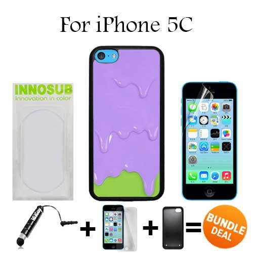 Purple Green Melting ice Cream Custom iPhone 5C Cases-Black-Plastic,Bundle 3in1 Comes with Screen Protector/Universal Stylus Pen by innosub (5c Melting Ice Cream Case compare prices)