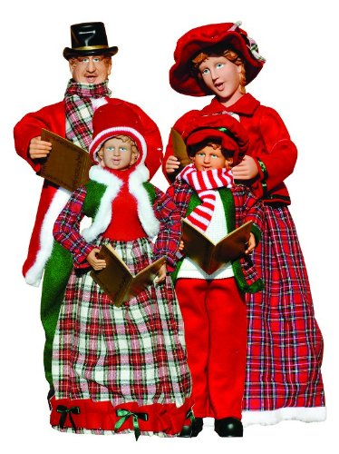Set of 4 Victorian Red and Plaid Caroler Family Christmas Table Top Figures