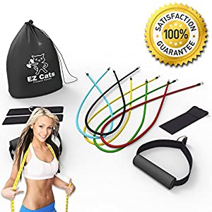 EzCats Resistance Bands Set - 5 Level of Bands With Door Anchor , Ankle Straps And Handles - 100% Satisfaction Guarantee - Can Be Used With Knee Workout & Legs Training - Works Best With Loop Band ,Elastic Exercise,Pull Up Bar, Pilates ,P90x DvD, Crossfit
