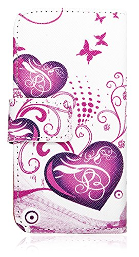 Mylife (Tm) Snow Storm White And Pink Hearts - Contemporary Design - Textured Koskin Faux Leather (Card And Id Holder + Magnetic Detachable Closing) Slim Wallet For Iphone 5/5S (5G) 5Th Generation Itouch Smartphone By Apple (External Rugged Synthetic Leat