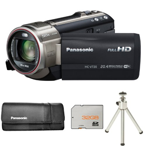 Panasonic HC-V720 Camcorder - Black + VWPS65XEK Case + 32GB Card and Tripod (20.4MP Black Friday & Cyber Monday 2014