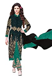 Regalia Ethnic Women's Faux Georgette Semi-Stiched Salwar Suit (IRE32_Free Size_Green)