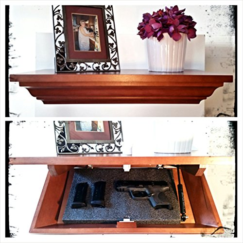 "21"" Maple Concealed Covert Cabinets Gun Cabinet Wall Shelf Hidden Storage, Cherry Finish W/Led Light"