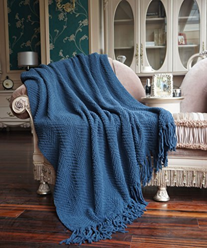 "BNF Home Knitted Tweed Throw Couch Cover Blanket, 50 by 60"", Blue Wing Teal"