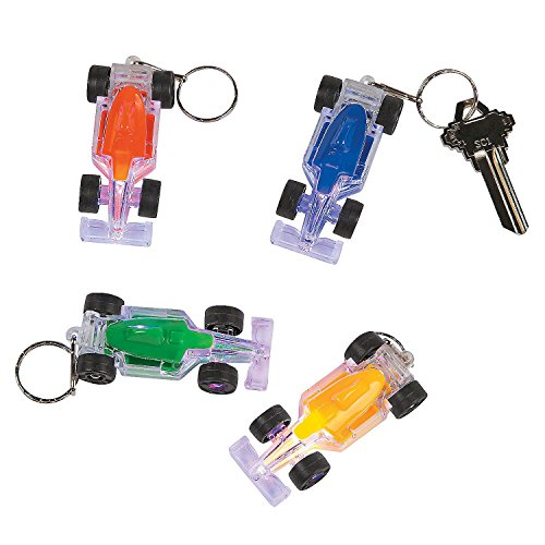 Light-Up Race Car Key Chains (12 Pack) Assorted Colors.