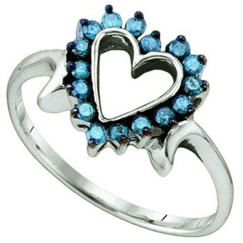 0.25 Carat (ctw) 10k White Gold Blue Diamond Ladies Heart Promise Ring
