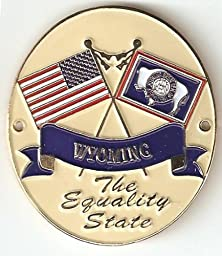 Wyoming & United States of America Flags - Hiking Stick Medallion - The Equality State
