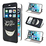 ivencase View Window Painting Art Smile Face Style Design PU Leather Flip Protective Skin Stand Case Cover for Apple iPhone 6 Plus 55 inches
