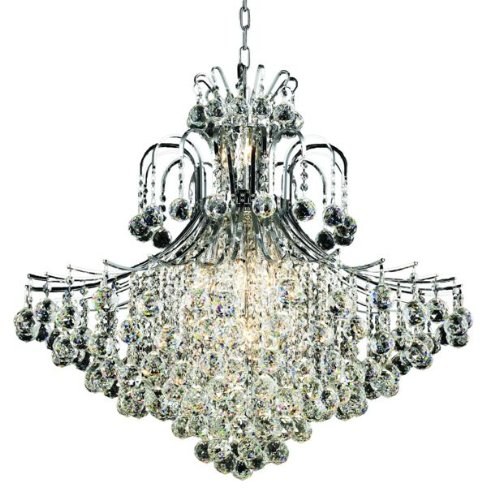 Elegant Lighting 8005G31C/Rc Toureg 35-Inch High 15-Light Chandelier, Chrome Finish With Crystal (Clear) Royal Cut Rc Crystal front-759827