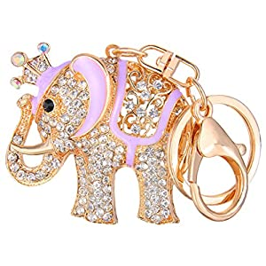 Ever Faith Gold-Tone Austrian Crystal Purple Enamel Little Elephant with Crown Keychain Clear N05672-4