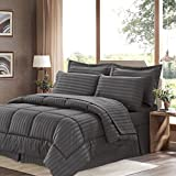 Sweet Home Collection 8 Piece Bed In A Bag With Dobby Stripe Comforter, Sheet Set, Bed Skirt, And Sham Set - Queen... - B01A1GDJ1E