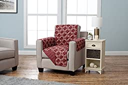 Adalyn Collection Deluxe Reversible Quilted Furniture Protector. Beautiful Print on One Side / Solid Color on the Other for Two Fresh Looks. By Home Fashion Designs. (Chair, Burgundy)