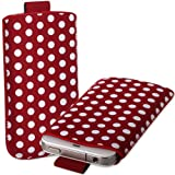 Red & White Polka Dot Leather Xylo-Pouch Case Cover with Pull Up Cord: for the Sony Xperia E, E1 & E1 Dual Mobile Phone.