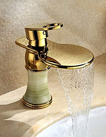 Ti- Pvd Gold Single Handle Widespread Waterfall Copper Bathroom Faucet Deck Mount Bathtub Kitchen Sink Lavatory Faucet