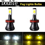 keyecu Pack of 2 DC 12V 6000K/3000K Dual Colors In 1 Super Bright White-Yellow LED Fog Lights Lamps Replacement (H8/H11)