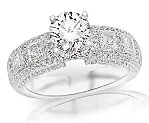3.07 Carat IGI Certified 14K White Gold Exquisite Bezel Set Princess Cut And Pave Set Round Diamond Engagement Ring