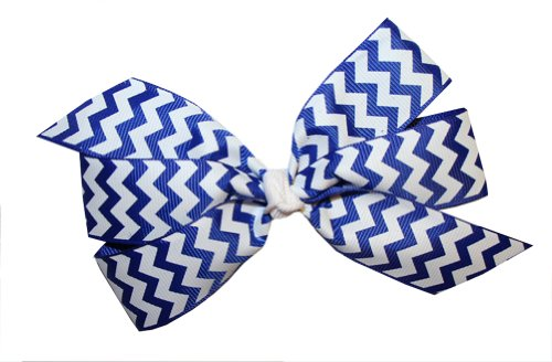 Webb Direct 2U Girls Lg Chevron Grosgrain Bow Alligator Clip ~ Royal (5131A) front-607164